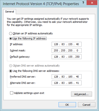 Screenshot of Windows Configuration