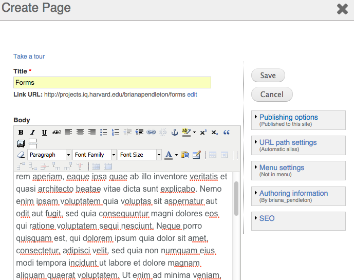 page form