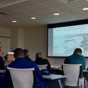 Dr. Zhanfei Liu presents at the South Texas Coastal Zone Area Committee Meeting. Photo by Lalitha Asirvadam